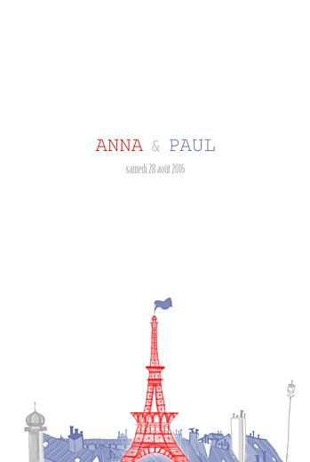 Menu de mariage Paris (4 pages) bleu gris rouge