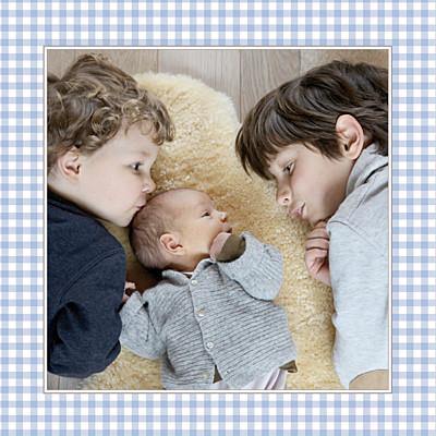 Faire-part de naissance Vichy photo bleu finition