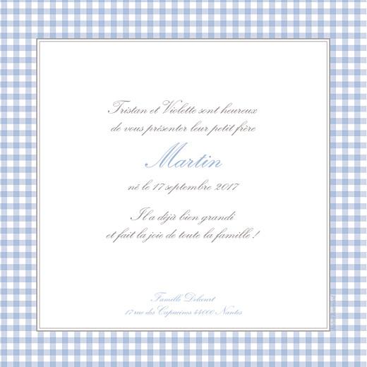 Faire-part de naissance Vichy photo bleu