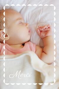 Carte de remerciement Petit biscuit rose pâle