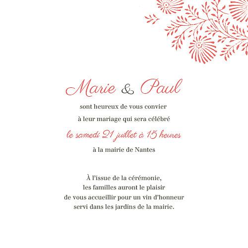 Faire-part de mariage Idylle (4 pages) corail - Page 3