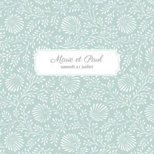 Faire-part de mariage Idylle (4 pages) vert d\'eau