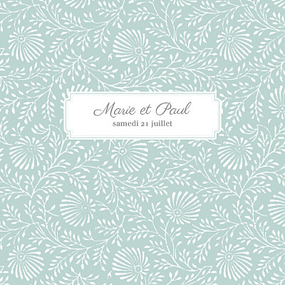 Faire-part de mariage Idylle (4 pages) vert d\'eau finition