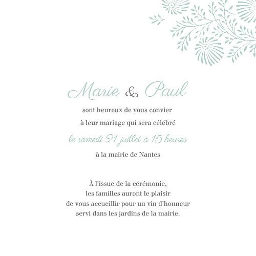 Faire-part de mariage Idylle (4 pages) vert d\'eau - Page 3