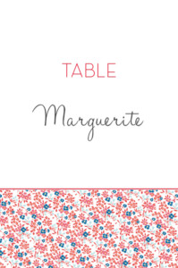 Marque-table mariage Simplement liberty rouge