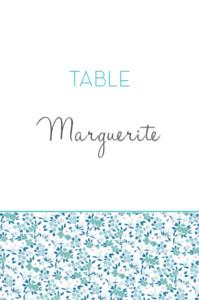 Marque-table mariage Simplement liberty bleu