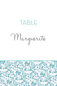 Marque-table mariage Simplement liberty bleu