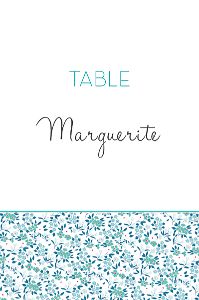 Marque-table mariage Simplement liberty bleu finition