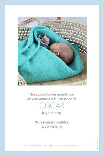 Faire-part de naissance Triangles photo bleu - Page 2