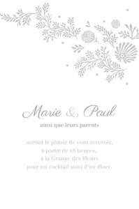 Carton d'invitation mariage Idylle gris
