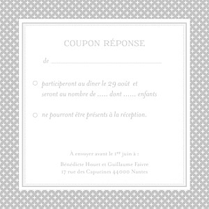Carton réponse mariage Motif chic gris