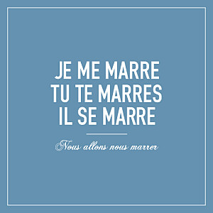 Faire-part de mariage Marrons-nous (4 pages) bleu foncé