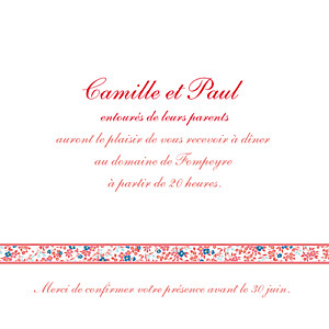Carton d'invitation mariage Ruban liberty rouge