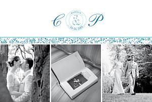 Carte de remerciement mariage Ruban liberty bleu