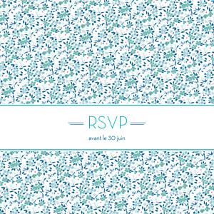 Carton réponse mariage Simplement liberty bleu