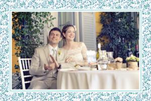 Carte de remerciement mariage Simplement liberty bleu