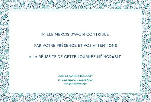 Carte de remerciement mariage Simplement liberty bleu - Page 2