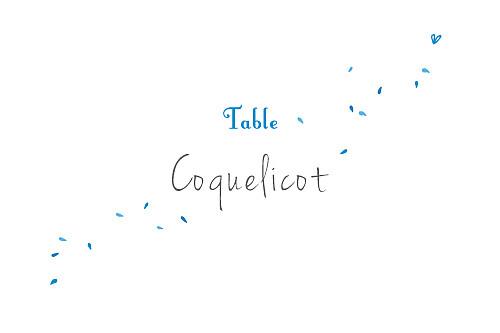 Marque-table mariage Bouquet bleu