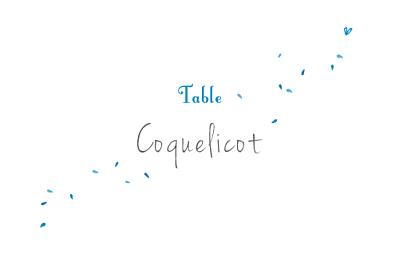 Marque-table mariage Bouquet bleu finition
