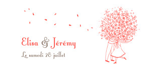 Etiquette de mariage Bouquet corail