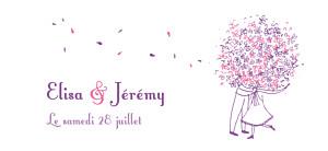 Etiquette de mariage Bouquet lilas