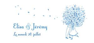 Etiquette de mariage Bouquet bleu