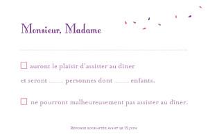 Carton réponse mariage violet bouquet lilas