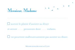 Carton réponse mariage Grand bouquet bleu