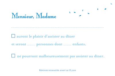 Carton réponse mariage Grand bouquet bleu finition