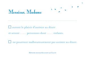 Carton réponse mariage Bouquet bleu