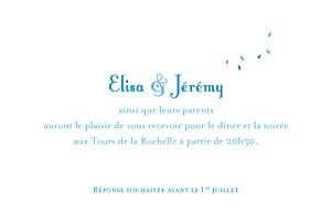 Carton d'invitation mariage Grand bouquet bleu