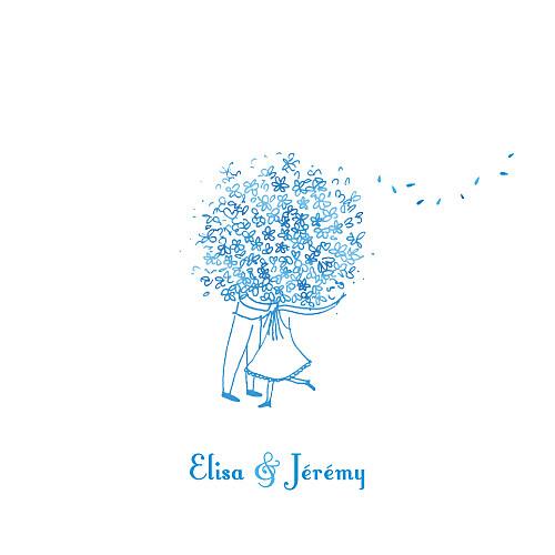 Faire-part de mariage Grand bouquet bleu