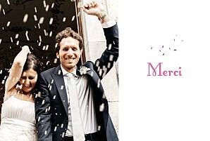 Carte de remerciement mariage Bouquet paysage lilas