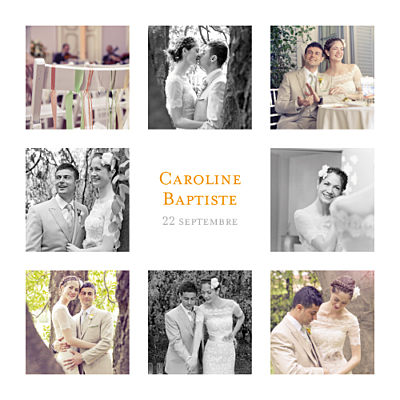 Carte de remerciement mariage Simple 8 photos blanc finition