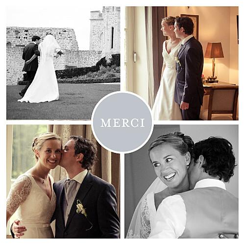 Carte de remerciement mariage Petit classique 4 photos gris