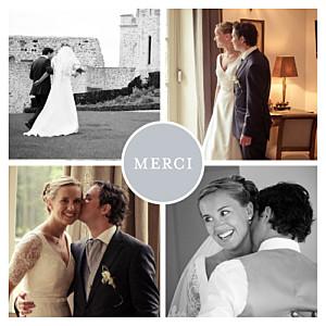 Carte de remerciement mariage Chic 4 photos gris