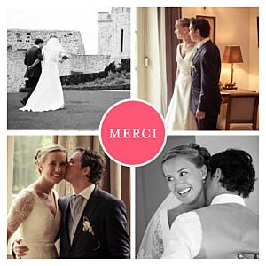 Carte de remerciement mariage Chic 4 photos grenadine