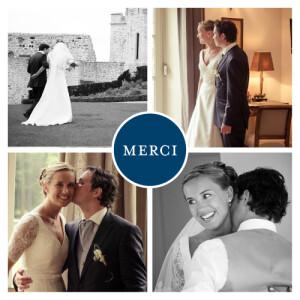 Carte de remerciement mariage Chic 4 photos bleu roi