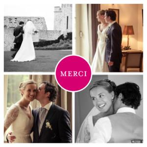 Carte de remerciement mariage Chic 4 photos fuschia