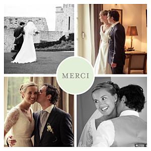 Carte de remerciement mariage vert chic 4 photos vert pâle