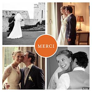 Carte de remerciement mariage orange chic 4 photos orange