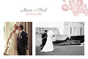 Carte de remerciement mariage Idylle 2 photos corail