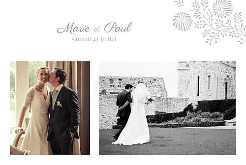 Carte de remerciement mariage Idylle 2 photos gris