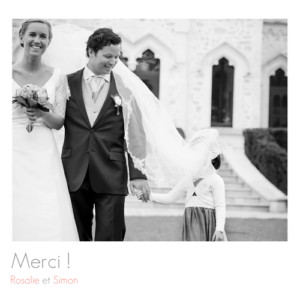 Carte de remerciement mariage Moderne 2 photos blanc