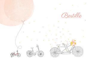Faire-part de naissance rouge à bicyclette (2 enfants) photos corail