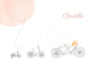 Faire-part de naissance À bicyclette (2 enfants) photos corail