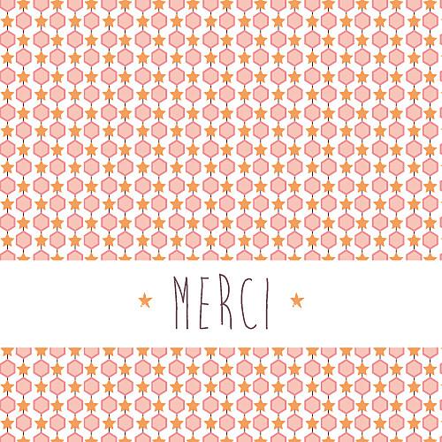 Carte de remerciement Merci capri rose