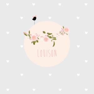 Faire-part de naissance Bucolique gris rose