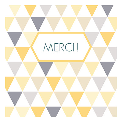 Carte de remerciement Merci triangles photo jaune taupe finition