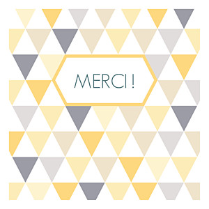 Carte de remerciement Merci triangles photo jaune violet